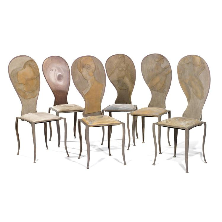 MARIKA CARNITI BOLLEA (NÉE EN 1933)Suite de six chaises