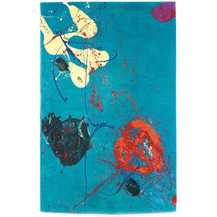 SAM FRANCIS (1923-1994) & ARTERIOR (ÉDITEUR)Tapis mécanique haute laine à décor polychrome sur fond turquoise. Étiquette d''éditeur.A...