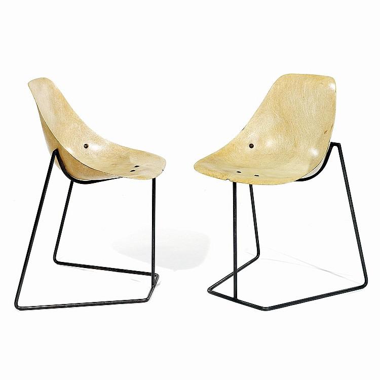 RENÉ-JEAN CAILLETTE (1919-2004) & STEINER (ÉDITEUR) Paire de chaises
