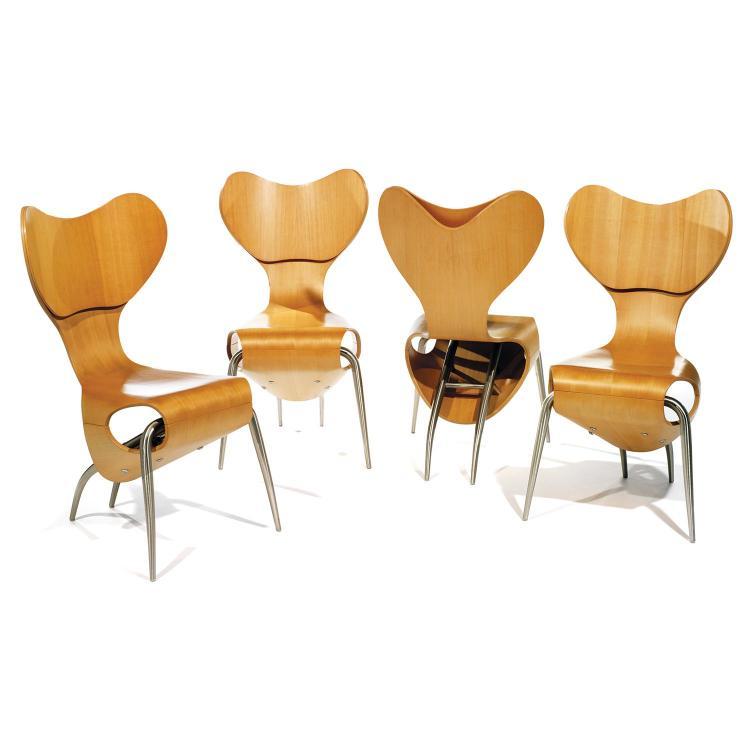 RON ARAD (NÉ EN 1951) & ALEPH (ÉDITEUR) Suite de quatre chaises