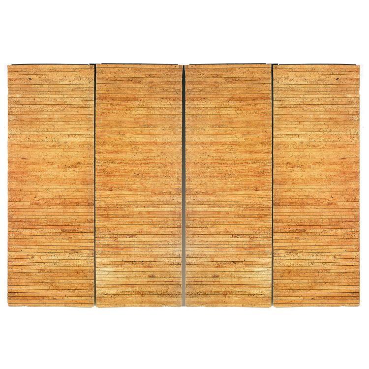 INGO MAURER (NÉ EN 1932)Suite de quatre nattes pouvant former décor mural, face formée d'épaisses bandelettes de liège, toile à l'ar...