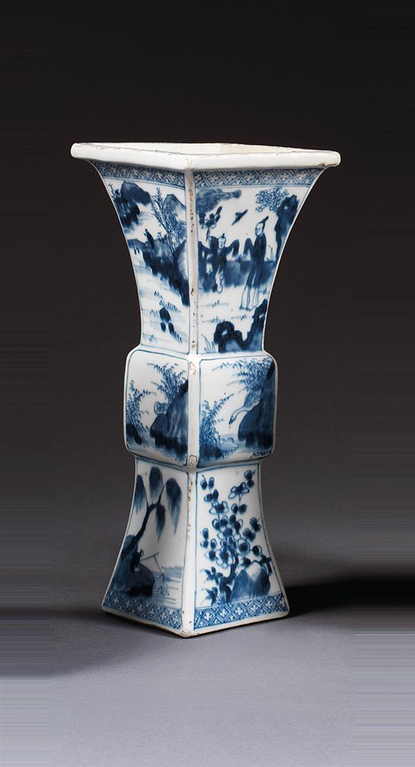vase fanggu en porcelaine et bleu de cobalt sous couverte m. Black Bedroom Furniture Sets. Home Design Ideas