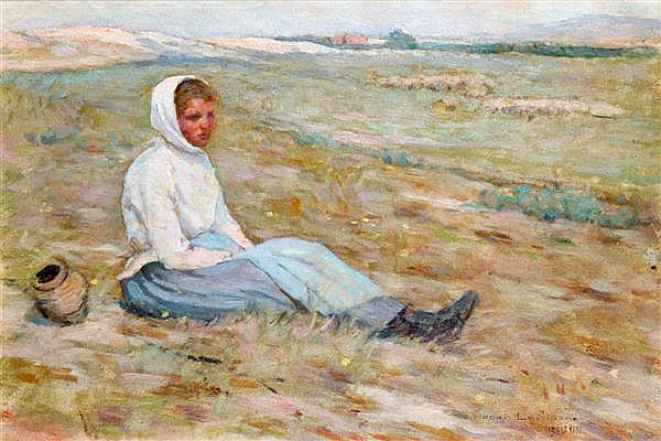 Henri LE SIDANER (1862-1939) La jeune bergère ( Tableau de l'école d'Etaples), 1890 Huile sur panneau Signée, située