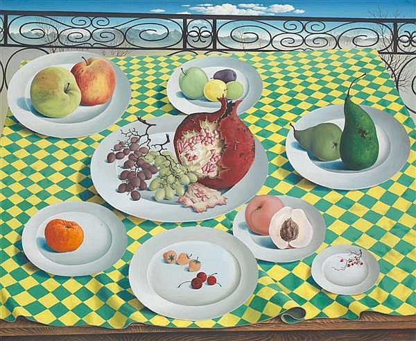 Léon Arthur Tutundjian (1906 - 1968) Déjeuner de fruits Huile sur toile Signée en bas à droite 100 x 81 cm