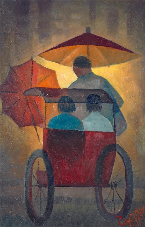 Louis Toffoli (1907-1999) Pousse-Pousse, 1976 Huile sur toile Signée en bas à droite 92 x 60 cm