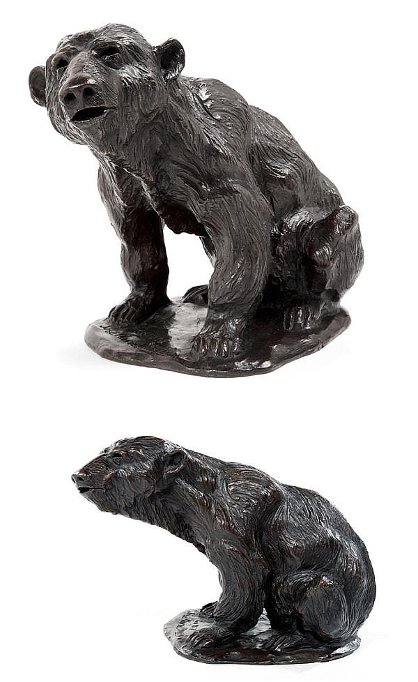JOSÉ MARIA DAVID (NÉ EN 1944).Ours Brun Assis, 1992. A brown patina bronze sculpture shaping a seated bear, from the 1988 plaster, cast