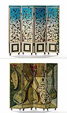 PIERO FORNASETTI (1913-1988).Strumenti Musicali & Uccelli, circa 1950. A wooden four panels screen with lithographic decorations depict