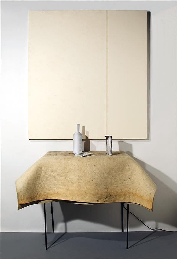 Pier Paolo Calzolari (né en 1943).11.30 (Natura morta C), 2006. Tempera on canvas, iron frame, felt, lead and copper objects, refrigera