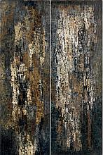 Pierre DMITRIENKO (1925-1974).La Garde-Freinet, 1958.Diptyque .Diptych.Oil on canvas.One signed and dated 58 lower right.Each signed, d