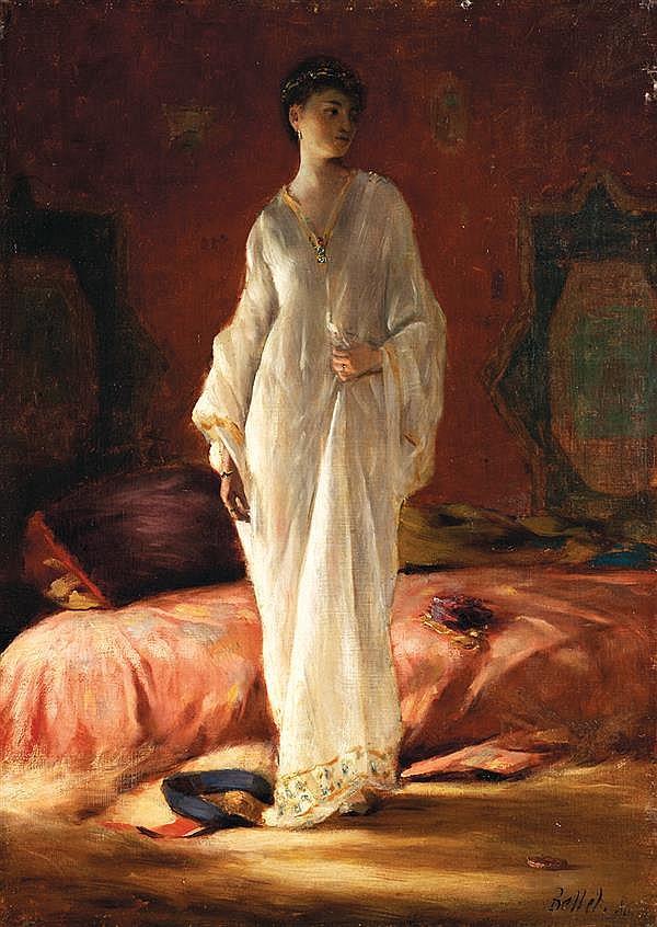 PIERRE BELLET (1865-1924) ORIENTALE À LA TUNIQUE BLANCHE ORIENTAL LADY WITH A WHITE DRESS Huile sur toile signée et datée (18)87 bas...