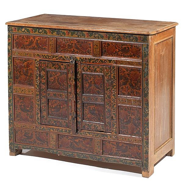 Petit meuble bas q j r la fa ade en bois peint d cor de fl - Petit meuble bas salon ...