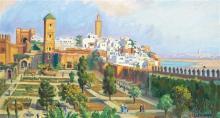 SOLANGE MONVOISIN (1911-1986) LES OUDAÏAS, RABAT THE OUDAÏAS, RABAT Huile sur toile fixée sur un panneau, signée en bas à droite. 47...