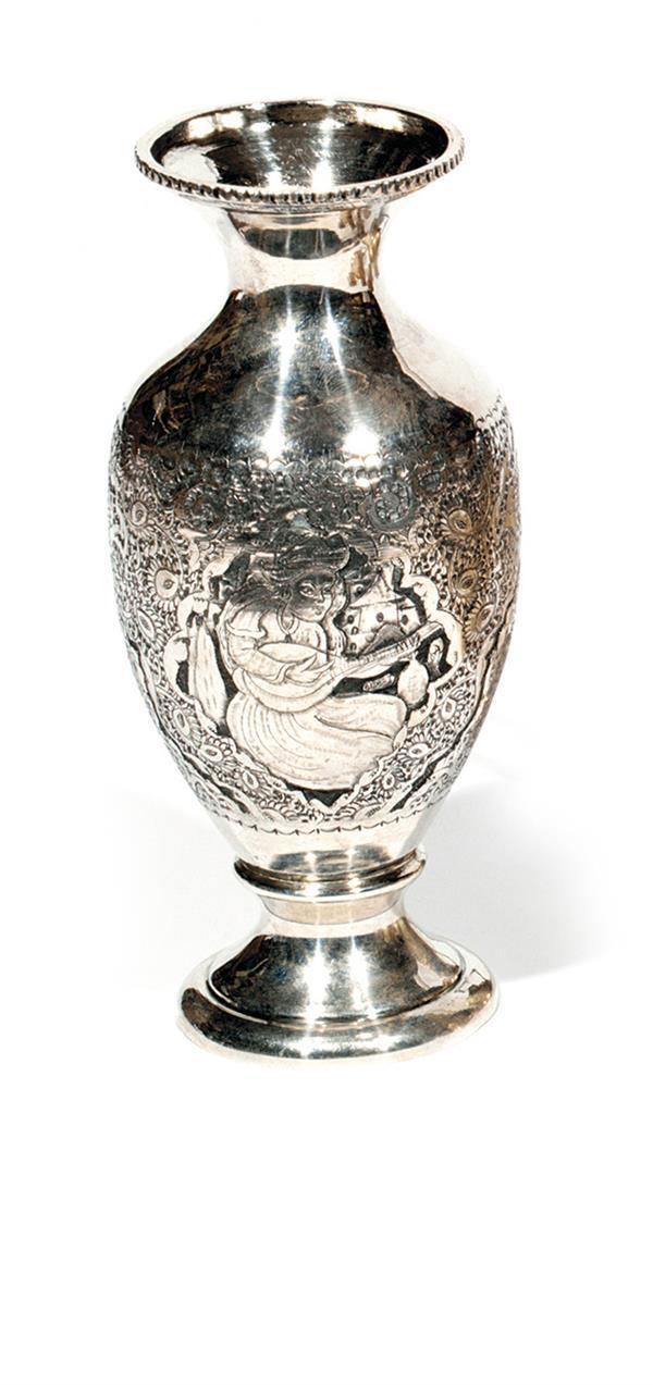 petit vase balustre persan en argent la panse d cor en ha. Black Bedroom Furniture Sets. Home Design Ideas