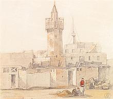 ADRIEN DAUZATS (1804-1868) LA MOSQUÉE DE COLEAH (ALGÉRIE) THE MOSQUE OF COLEAH Dessin à la mine de plomb rehaussé d'aquarelle et de ...