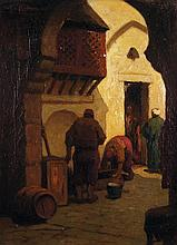 OTTO KRIENS (1873-1930) PETITS MÉTIERS EN TURQUIE WORKING IN A TURKISH STREET Huile sur toile signée en haut à gauche. 40,5 x 30,5cm...