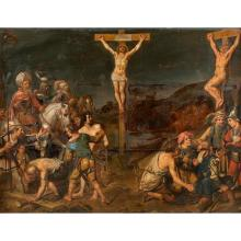 Attr. to F. Venant, The Crucifixion of the Thieves, oak panel, reinforced
