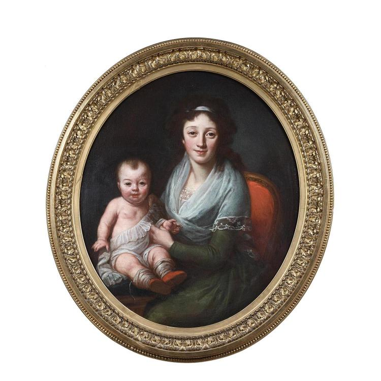 Attr. to M. Daniche, Portrait of a mother and her child, oval canvas.