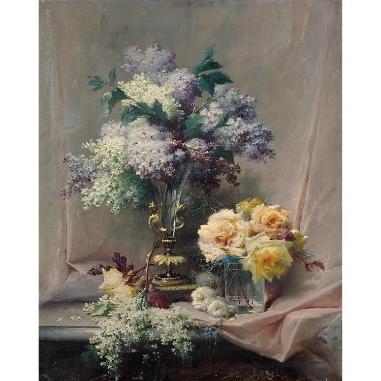 Bunch of lilacs and of roses on a table, original canvas, signed lower right: E.Bidau, without frame
