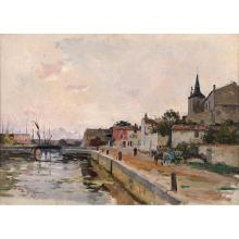 View of the port of Noirmoutier, canvas laid on cardboard, signed lower left: E. Petitjean