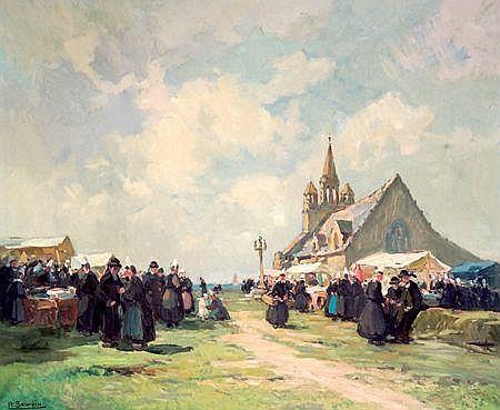HENRI ALPHONSE BARNOIN (1882-1940) PARDON DE LA JOU Huile sur toile Signée en bas à gauche Titrée au dos sur le châssis ...