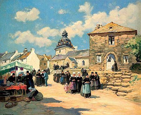 HENRI ALPHONSE BARNOIN (1882-1940) SORTIE DE MESSE A FAROUET Huile sur toile Signée en bas à gauche 46 x 55,5 cm