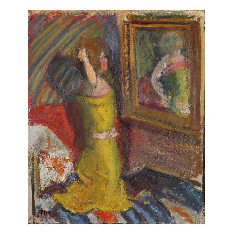 jean puy 1876 1960 la poup e au miroir huile sur toile sig. Black Bedroom Furniture Sets. Home Design Ideas