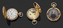 ARLINGTON & Co LONDON & CALCUTTA - SWISS VERS 1900 Montre de poche savonnette en or jaune et émail pour le marché indien. Cadran éma...