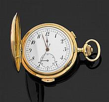 ANONYME GRAND DIPLôME D'HONNEUR - MILAN 1906 Montre de poche savonnette en or jaune avec chronographe monopoussoir et répétition min...