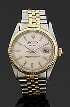 ROLEX DATEJUST. Réf. 1603, VERS 1967 Montre bracelet en or jaune et acier. Cadran argenté avec index bâtons appliqués. Seconde centr...