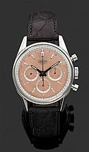 HEUER CHRONOGRAPHE CARRERA. CS3112. ANNéES 2000 Montre bracelet en acier avec chronographe. Cadran cuivré avec index bâton appliqués...