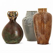 ART NOUVEAU A set of three pieces: - ÉMILE MÜLLER (1823-1889) - A stoneware vase, gilt bronze frame