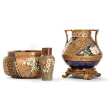 HENRI FAUGERON (?-1891) A set of three earthenware pieces:- A planter