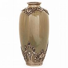 PAUL MILET (1870-1950) & VICTOR SAGLIER (1809-1894) A porcelain vase, silver frame