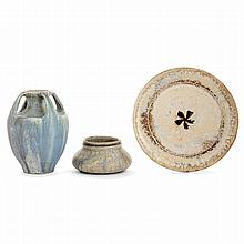 ALEXANDRE BIGOT (1862-1927) A set of three stoneware pieces, a vase, a cup and a plate