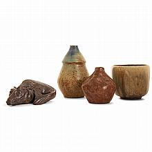 SAINT-AMAND-EN-PUISAYE & ÉCOLE DE CARRIÈS A set of four stoneware pieces: - ABBÉ PIERRE PACTON (1856-1938) & ANDRÉ MINIL - A fantast...