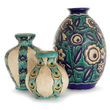 CHARLES CATTEAU (1880-1966) & KÉRAMIS (MANUFACTURE) A set of three earthenware vases