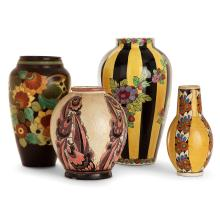 CHARLES CATTEAU (1880-1966) & KÉRAMIS (MANUFACTURE) A set of four earthenware vases