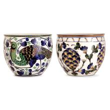 ALUMINIA - ROYAL COPENHAGUE (MANUFACTURE) A pair of earthenware planters