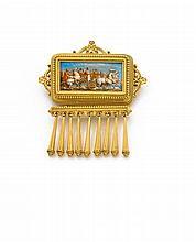 Eugène FONTENAY Années 1860 Exceptionnelle broche émail Elle est de forme rectangulaire ornée au centre d'une miniature