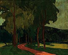 ADOLPHE-MARIE BEAUFRÈRE (1876-1960) CHEMIN DANS LA FORÊT Huile sur toile Signée en bas à droite 46 X 55cm