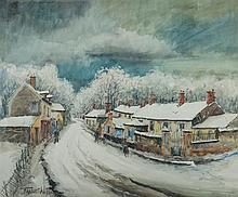 FRANCK WILL (1900-1951) Village sous la neige Aquarelle et crayon sur papier Signée en bas à gauche 44,5 x 54cm