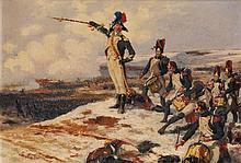 George Bertin Scott (1873-1942) Scène de bataille Huile sur toile Signée en bas à gauche 34 x 46,5cm