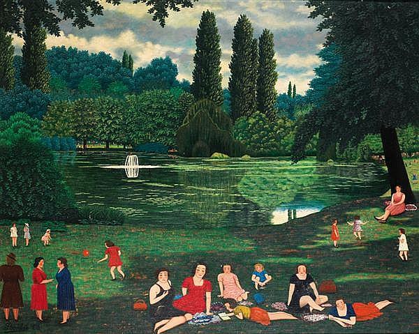 Camille Bombois (1883-1970) Le Parc de Baden Huile sur toile Signée en bas à gauche 80 X 100cm