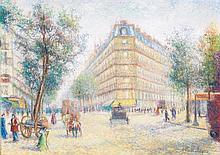 Hughes Claude Pissarro (1935) Vue des grands boulevards à Paris Pastel sur papier Signé en bas à droite 37 x 50cm