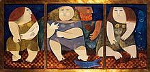 Sami Briss (1930) Trois femmes Triptyque Technique mixte sur panneau Signée en bas à gauche 36 x 76cm
