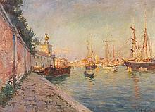 Julien Gustave Gagliardini (1846-1927) Vue de Venise Huile sur toile Signée et datée en bas à droite 53,5 x 72,5cm