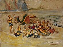 Roland Lefranc (1931-2000) Scène de plage, 1954 Huile sur carton Titrée, datée