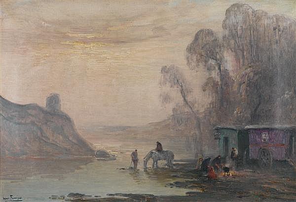Henri-Louis Foreau (1866-1938) La roulotte au bord de l'eau Huile sur toile Signée en bas à gauche 40 x 58cm