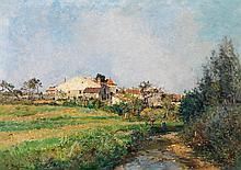 Edmond Marie Petitjean (1844-1925) Paysage près d'une rivière Huile sur toile Signée en bas à gauche 50 x 70cm