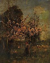 Louis Aimé Japy (1840-1916) Bergère sous un pommier en fleurs Huile sur panneau Signée en bas à droite 32 x 42cm